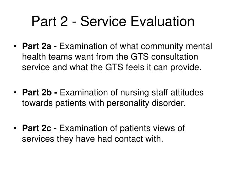Part 2 - Service Evaluation