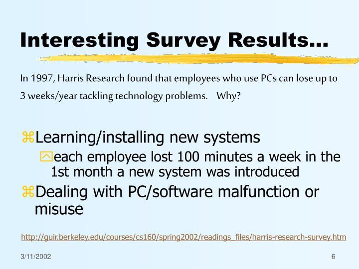 Interesting Survey Results...