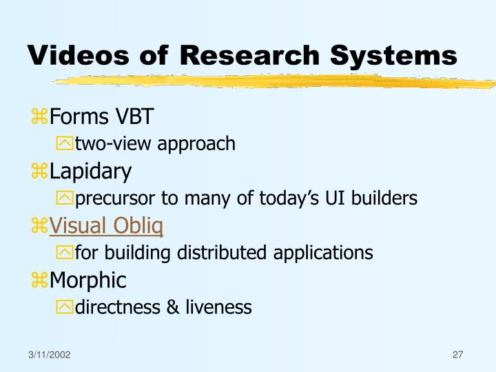 Videos of Research Systems