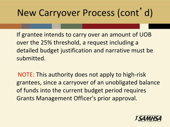 New Carryover Process (cont