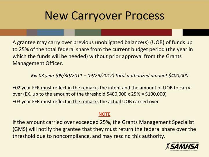 New Carryover Process