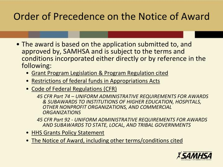 Order of Precedence on the Notice of Award