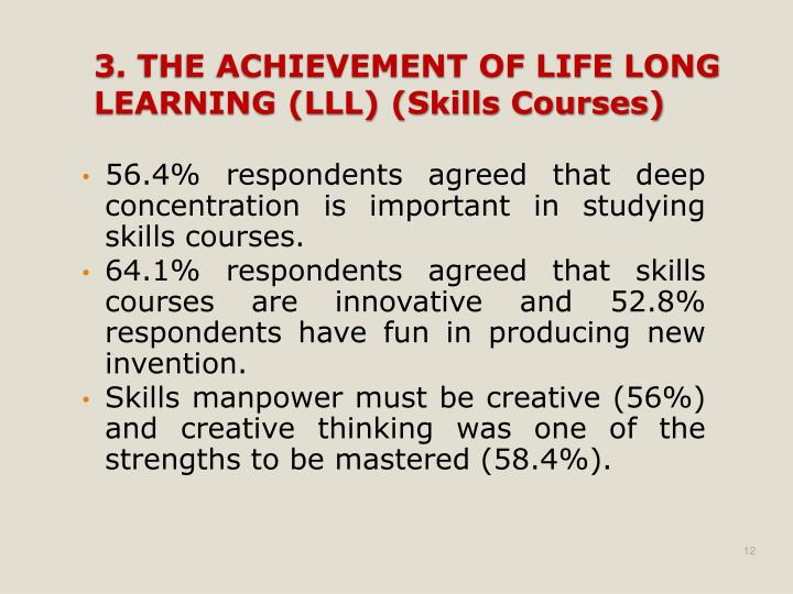 56.4% respondents agreed that deep concentration is important in studying skills courses.