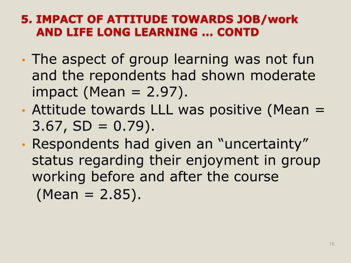 The aspect of group learning was not fun and the repondents had shown moderate impact (Mean = 2.97).