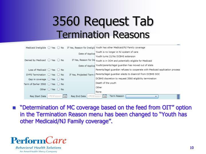 3560 Request Tab