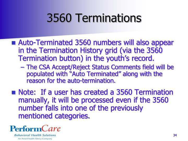 3560 Terminations