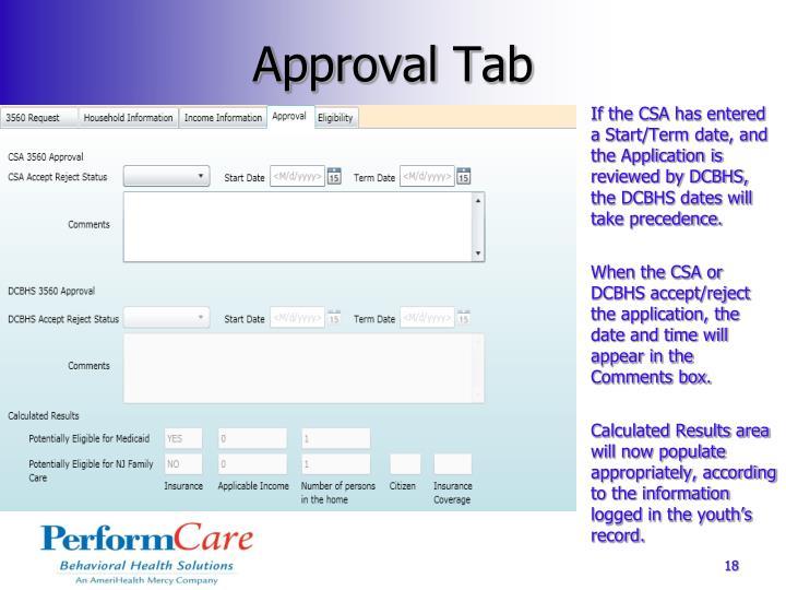 Approval Tab
