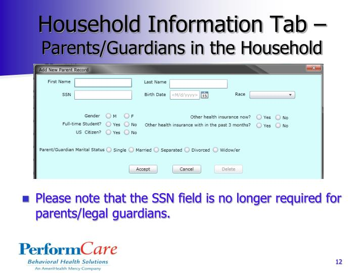 Household Information Tab –