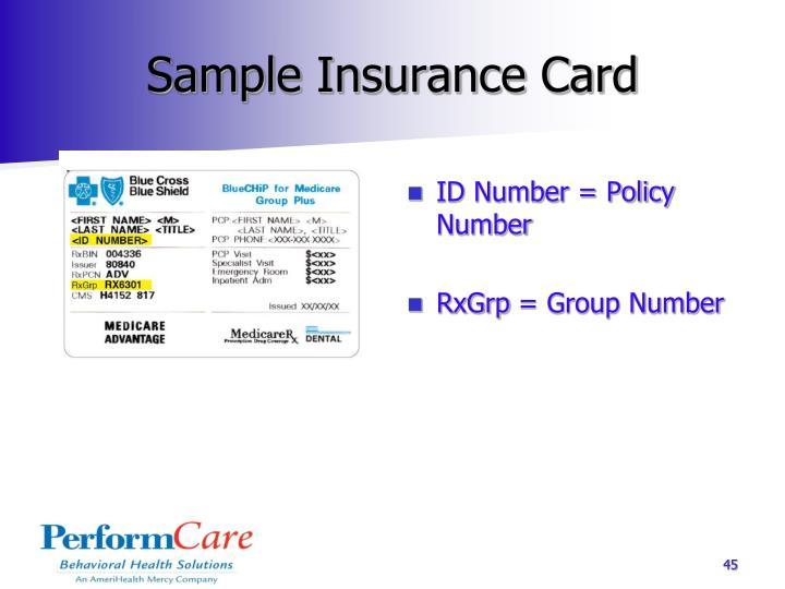 Sample Insurance Card