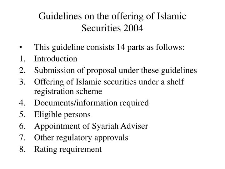 Guidelines on the offering of Islamic Securities 2004