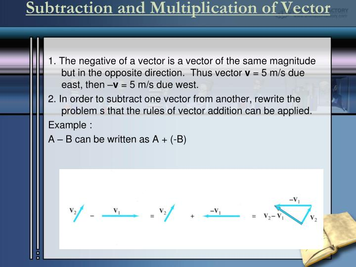 Subtraction and Multiplication of Vector