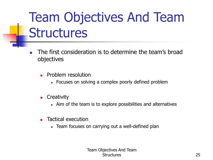 Team Objectives And Team Structures
