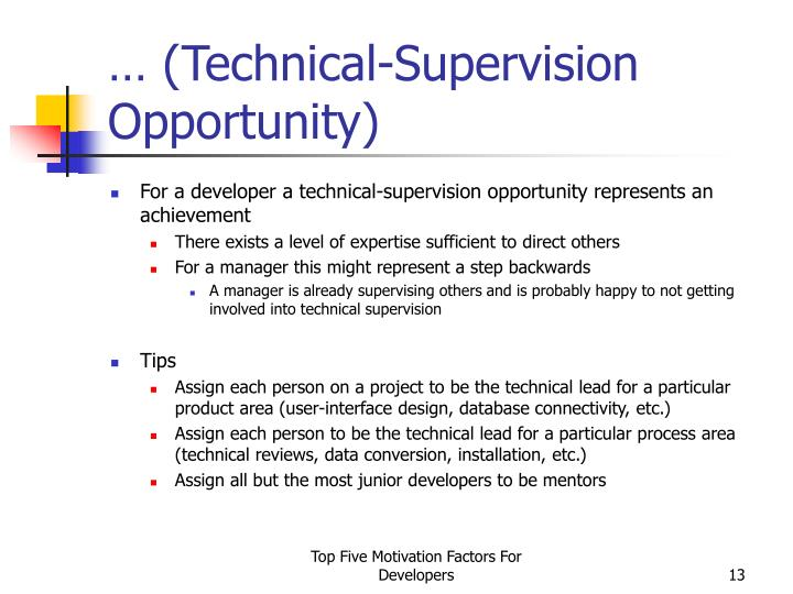 … (Technical-Supervision Opportunity)