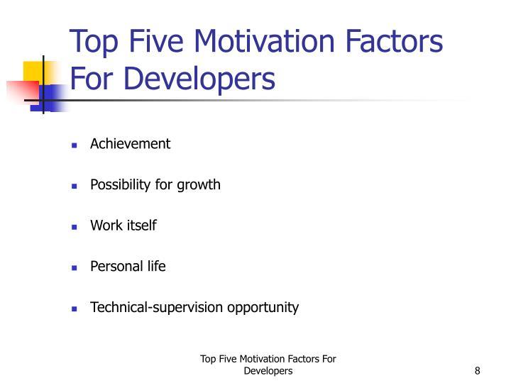 Top Five Motivation Factors For Developers