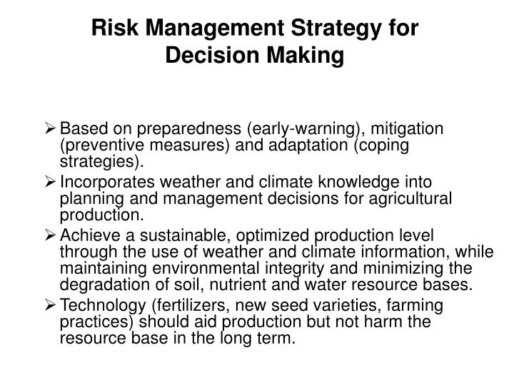 Risk Management Strategy for