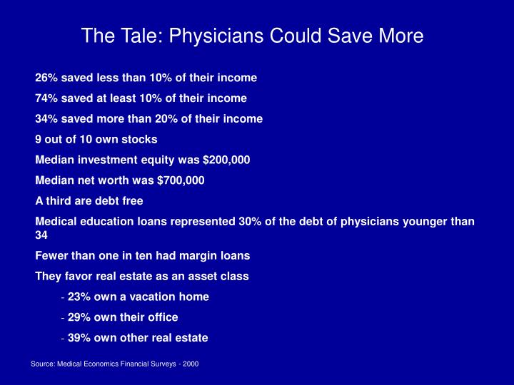 The Tale: Physicians Could Save More