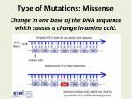 type of mutations missense