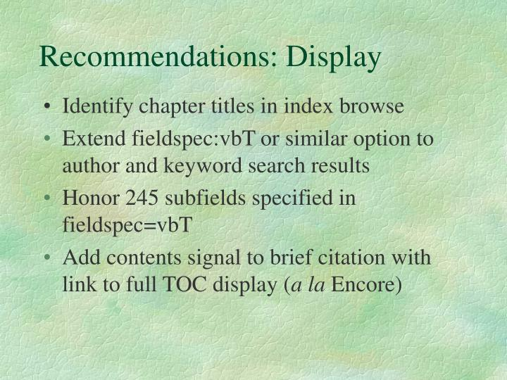 Recommendations: Display