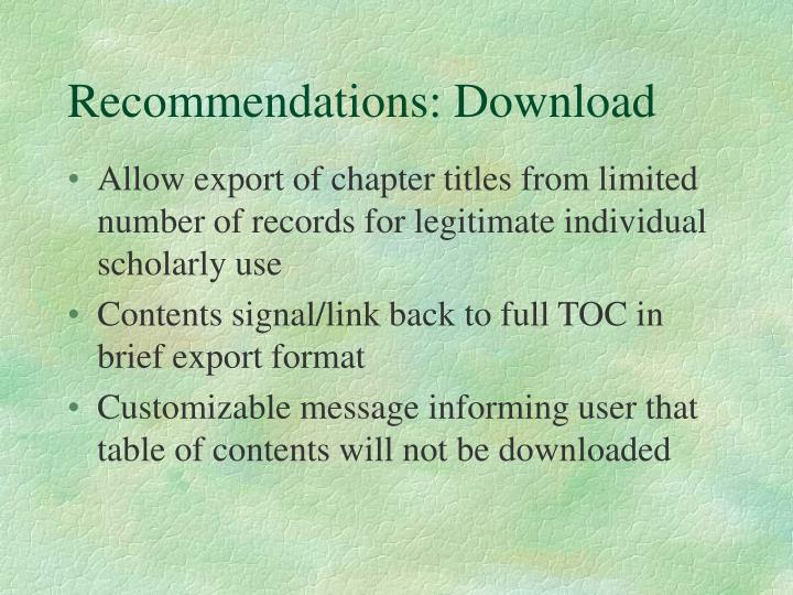 Recommendations: Download