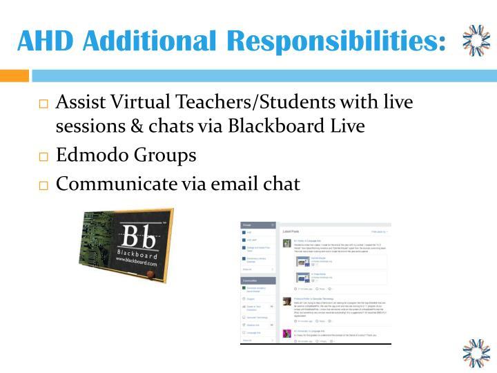 AHD Additional Responsibilities