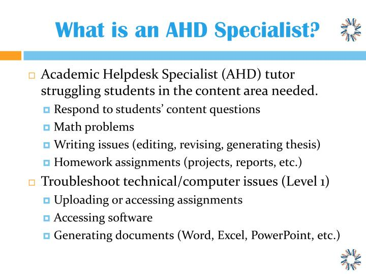 What is an AHD Specialist?
