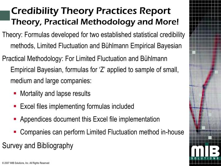 Credibility Theory Practices Report