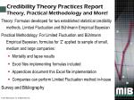 credibility theory practices report theory practical methodology and more