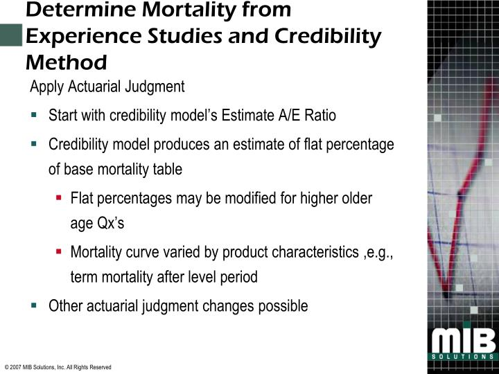 Determine Mortality from Experience Studies and Credibility Method