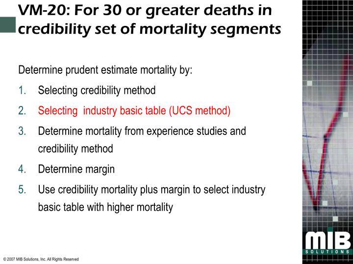 VM-20: For 30 or greater deaths in credibility set of mortality segments