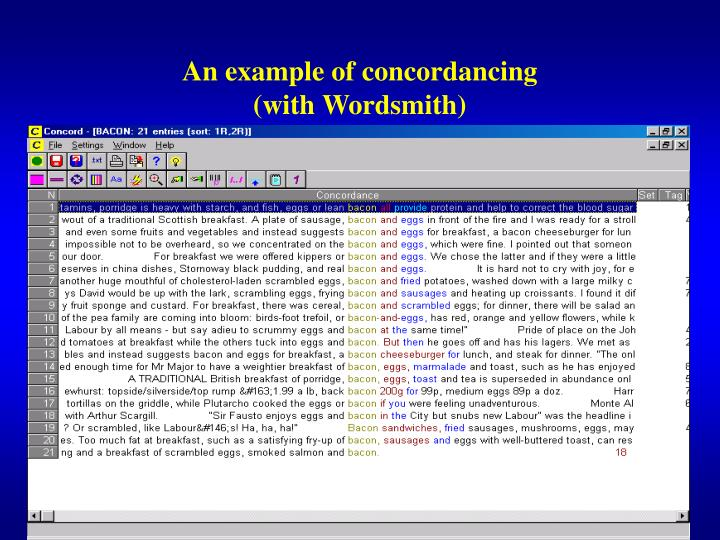 An example of concordancing
