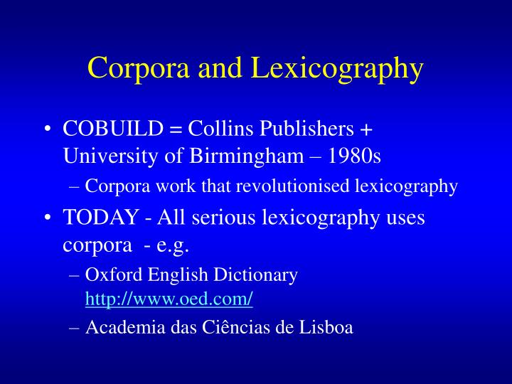 Corpora and Lexicography