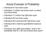 actual example of probability