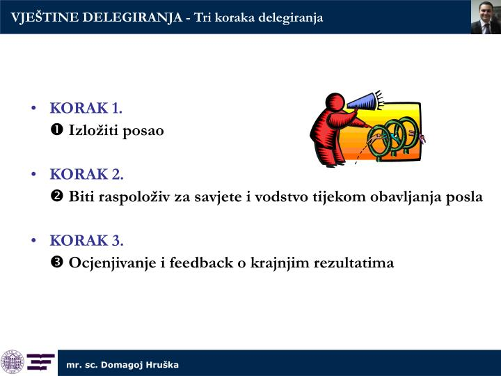 VJEŠTINE DELEGIRANJA - Tri koraka delegiranja