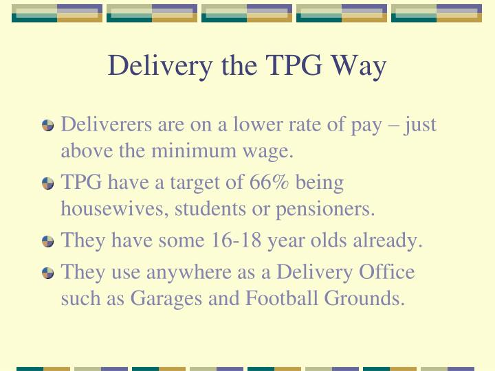 Delivery the tpg way2