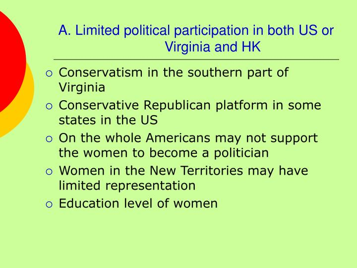 A. Limited political participation in both US or