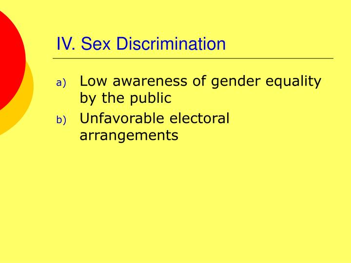 IV. Sex Discrimination