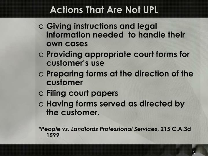 Actions that are not upl