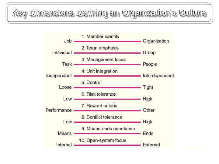 Key Dimensions Defining an Organization's Culture