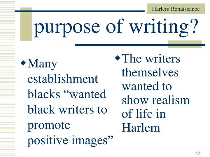 "Many establishment blacks ""wanted black writers to promote positive images"""