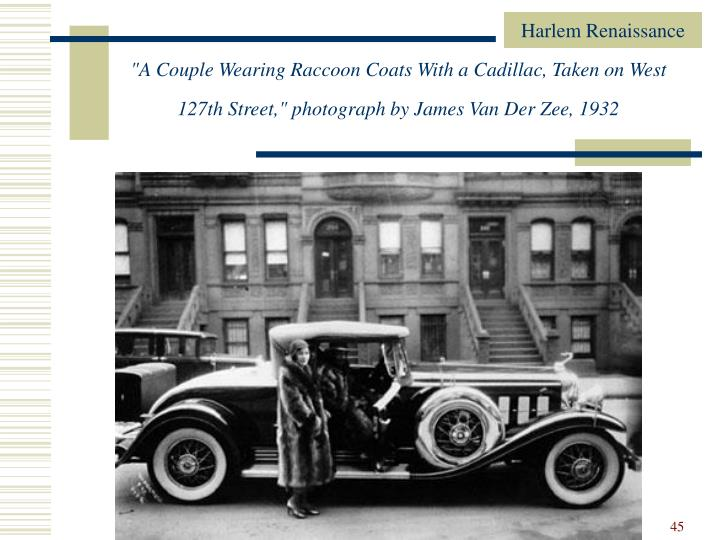 """""""A Couple Wearing Raccoon Coats With a Cadillac, Taken on West 127th Street,"""" photograph by James Van Der Zee, 1932"""