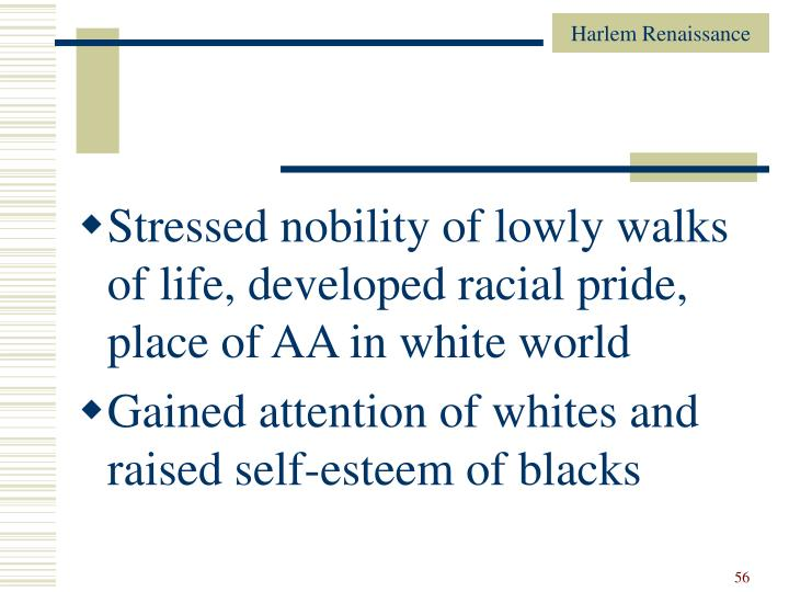 Stressed nobility of lowly walks of life, developed racial pride, place of AA in white world