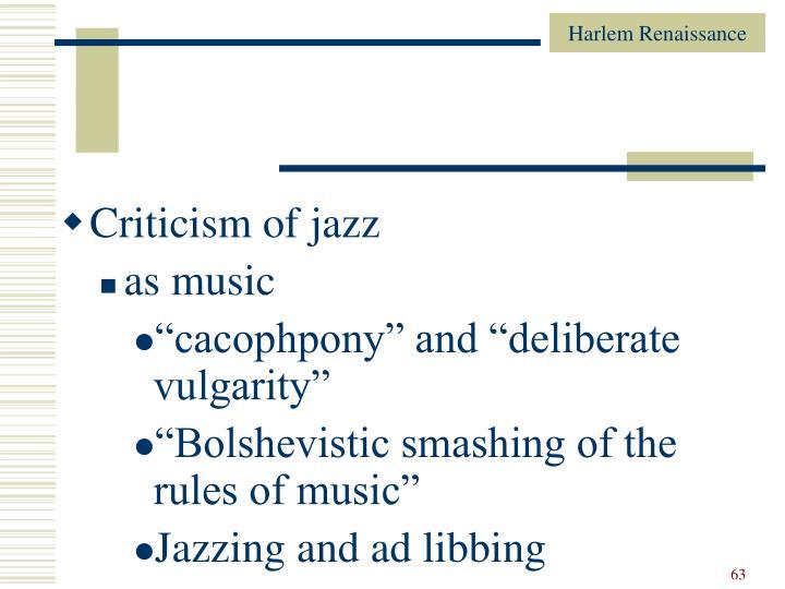 Criticism of jazz