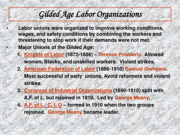 Gilded Age Labor Organizations