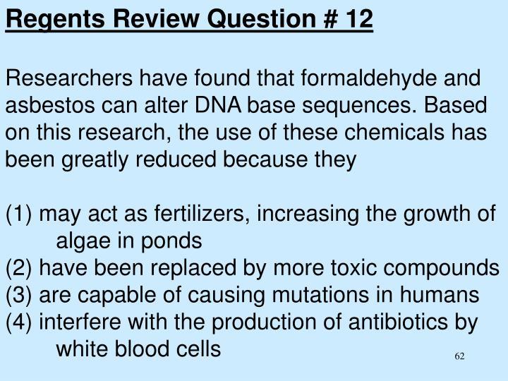 Regents Review Question # 12
