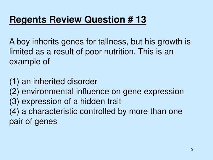Regents Review Question # 13