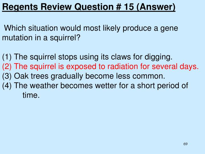 Regents Review Question # 15 (Answer)