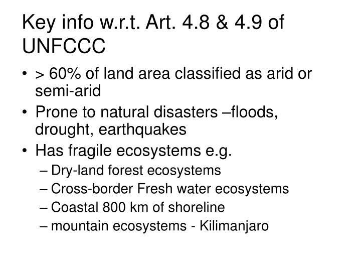 Key info w.r.t. Art. 4.8 & 4.9 of UNFCCC