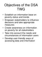 objectives of the dsa twg