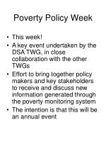 poverty policy week