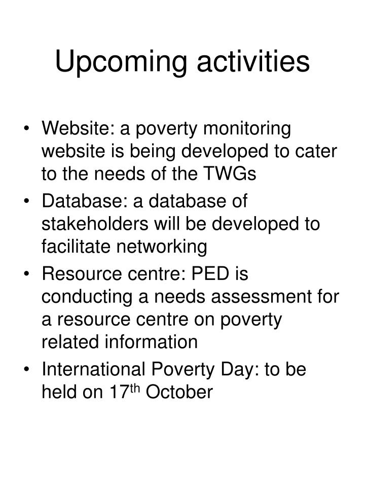 Upcoming activities